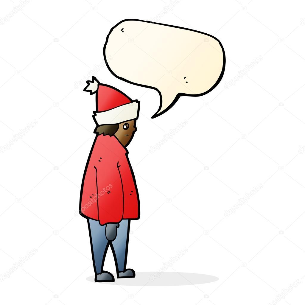ae4704f157a7 Πρόσωπο κινούμενα σχέδια σε χειμερινά ρούχα με το συννεφάκι λόγου —  Διανυσματικό Αρχείο