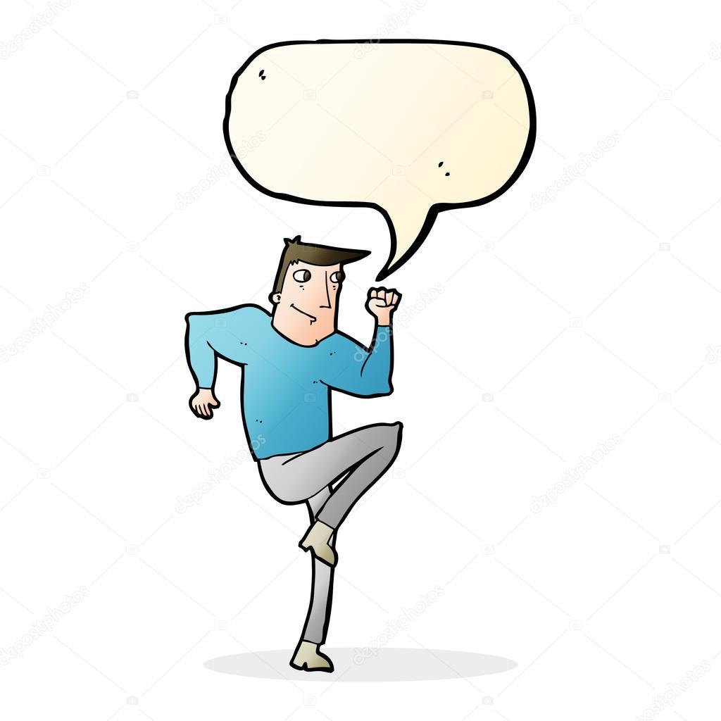 Karikatur Mann Joggen Auf Der Stelle Mit Sprechblase Stockvektor