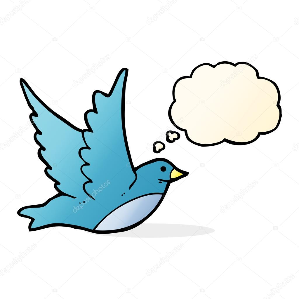 Cartoon Flying Bird With Thought Bubble Stock Vector