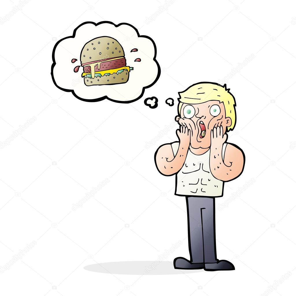 Hombre Pensando En Comida Dibujos Animados A Hombre Sorprendido