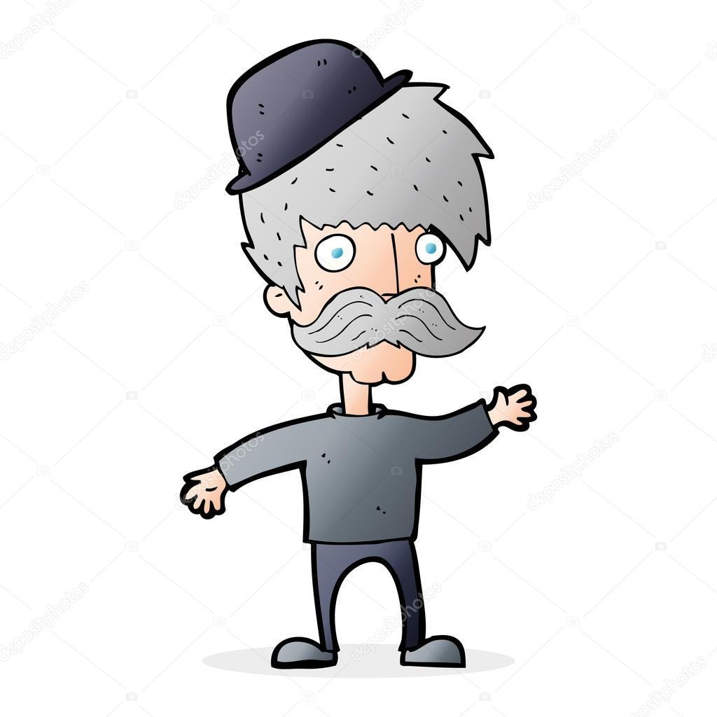 Cartoon Man Wearing Bowler Hat Stock Vector C Lineartestpilot
