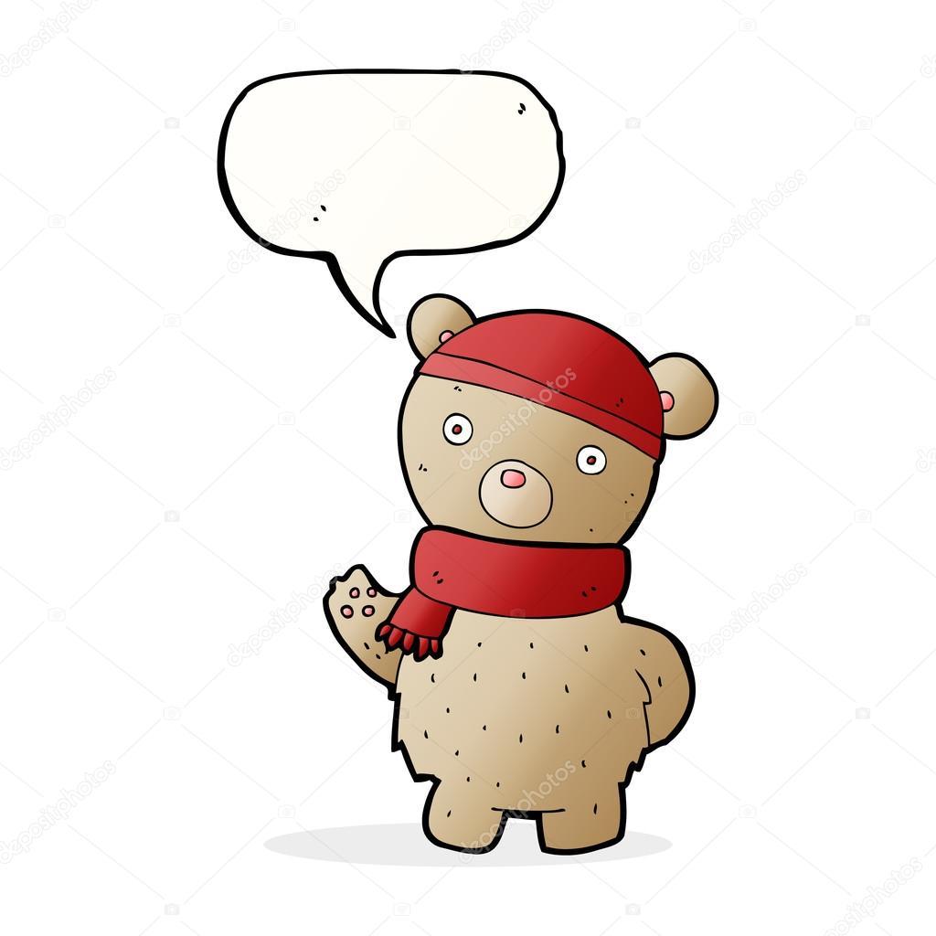 oso de peluche de dibujos animados de invierno sombrero y bufanda ...