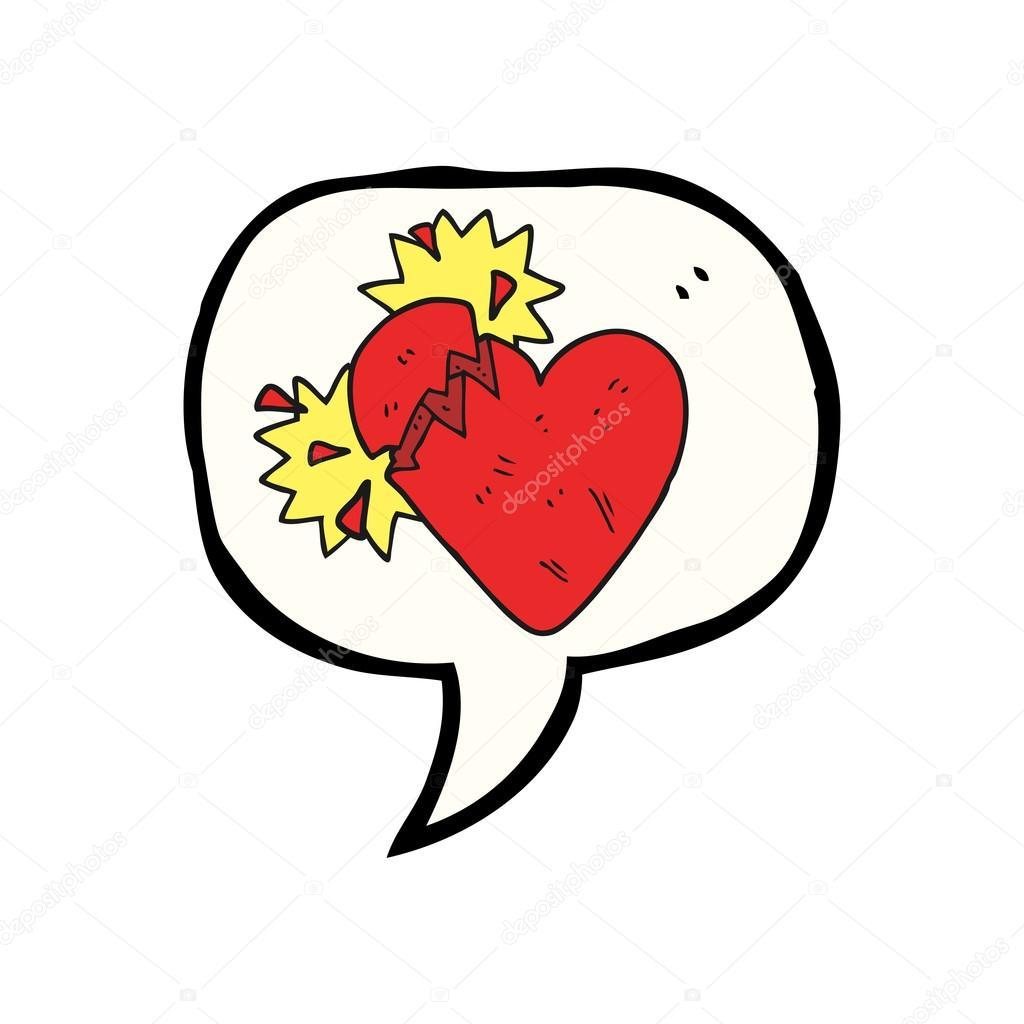 Konuşma Kabarcık Karikatür Kırık Kalp Stok Vektör