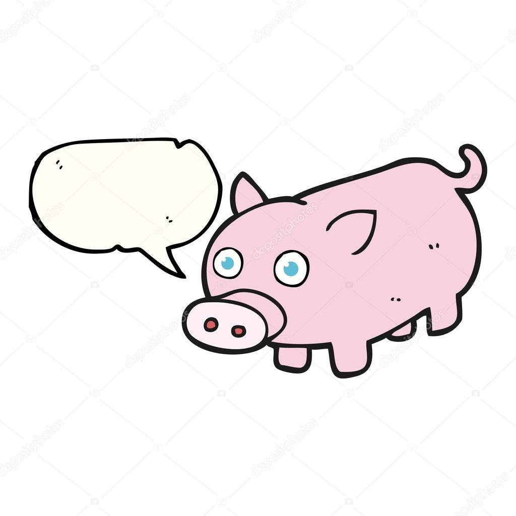 Cochinillo de dibujo animado discurso burbuja — Archivo Imágenes ...