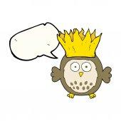 řeči bubliny cartoon sova papíru korunu vánoční klobouk