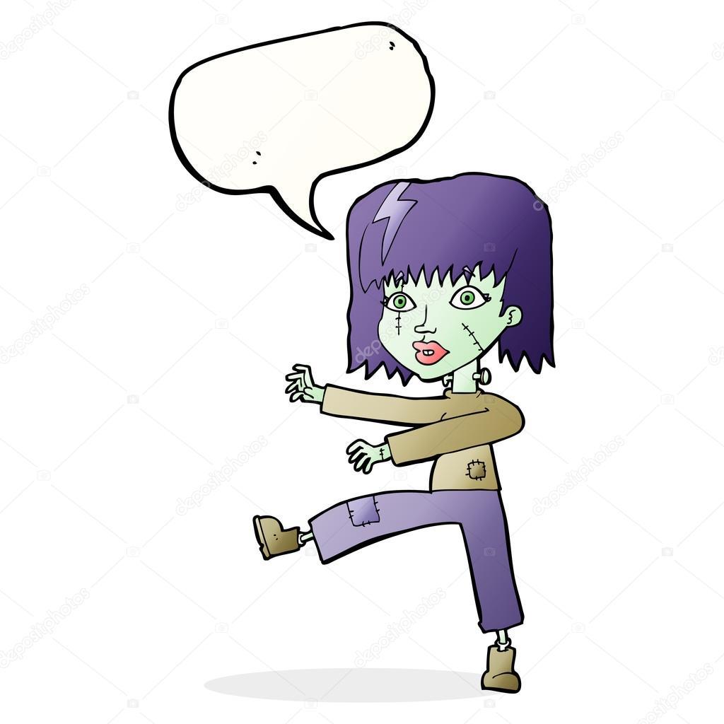 Fille De Dessin Animé Zombie Avec Bulle De Dialogue Image