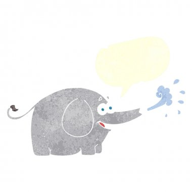 freehand retro cartoon elephant squirting