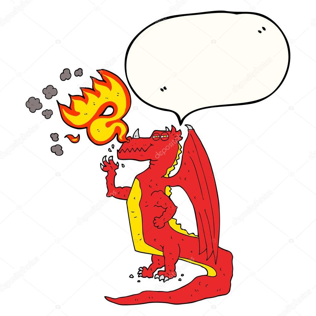 bocadillo de diálogo de la historieta feliz dragon respirando fuego ...
