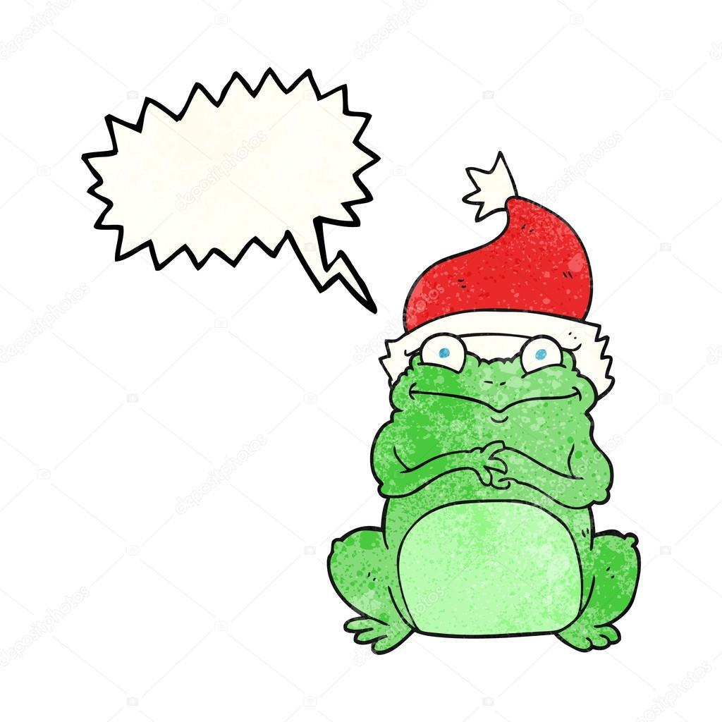 Speech bubble martellata cartone animato rana con cappello