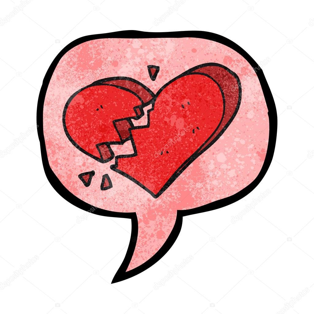 Reci Bublina Texturou Kresleny Zlomene Srdce Stock Vektor