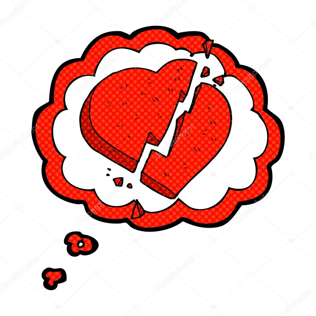 Myslenka Bubliny Cartoon Zlomene Srdce Symbol Stock Vektor