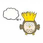 Myšlenka bubliny cartoon sova nošení papíru koruny vánoční klobouk