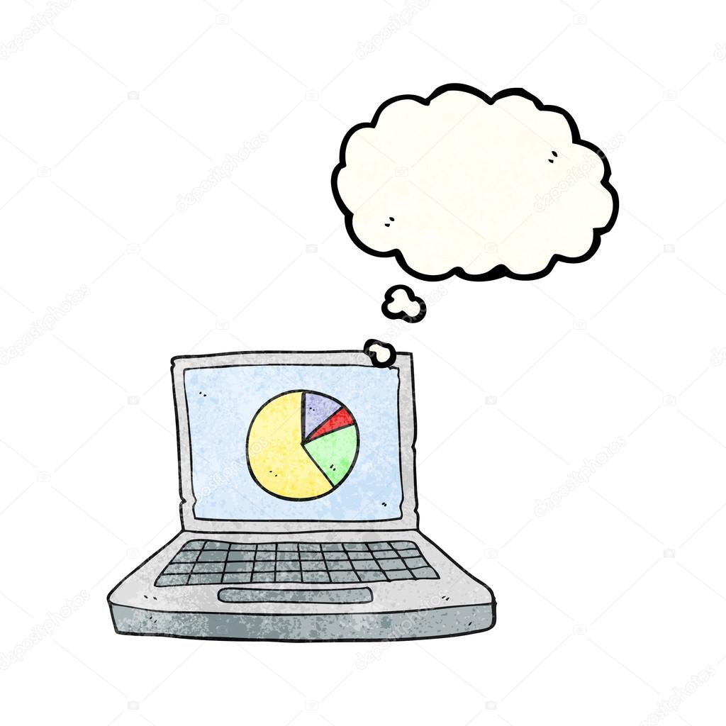 Thought Bubble Textured Cartoon Laptop Computer With Pie Chart