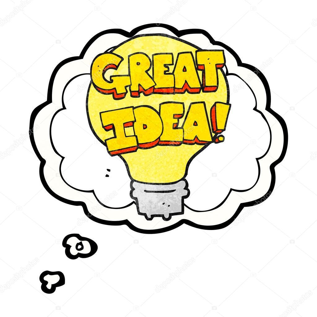 thought bubble textured cartoon great idea light bulb symbol stock rh depositphotos com Idea Light Bulb No Background I Have a Dream Clip Art