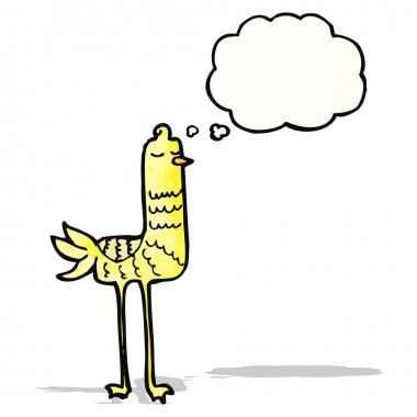 cartoon bird with thought bubble