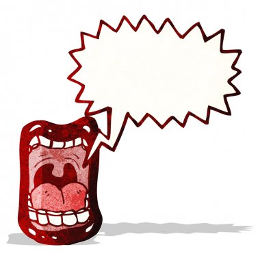 cartoon shouting mouth symbol