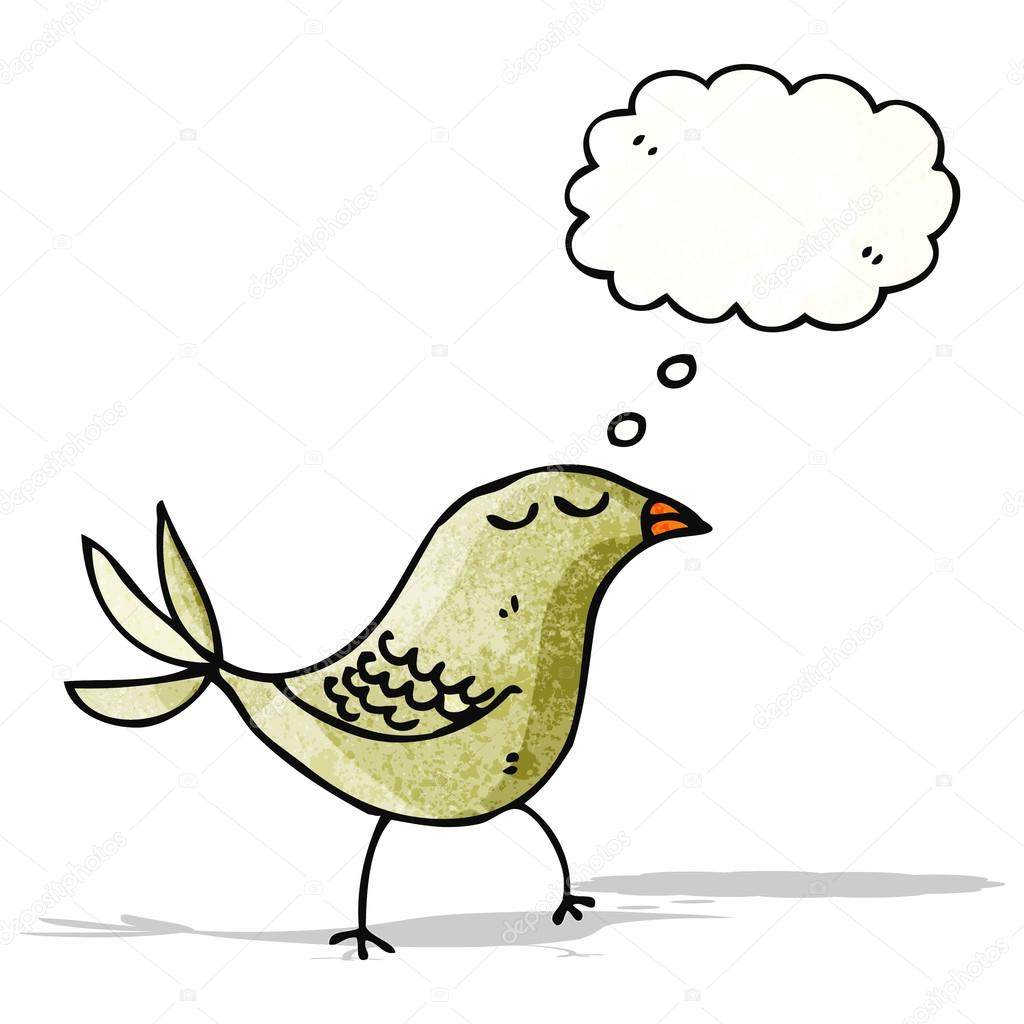 Cartone animato uccello con bolla di pensiero — vettoriali