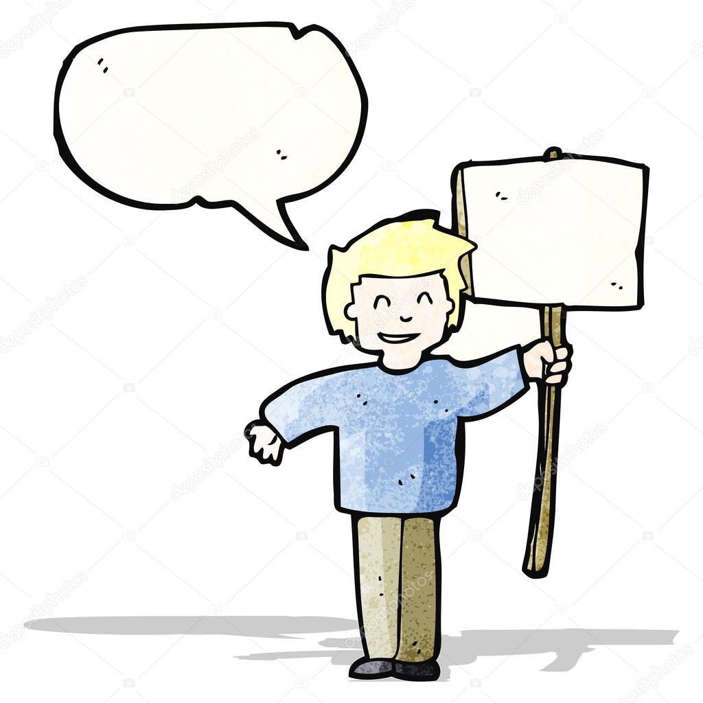 Caricatura Política Protestante Con Signo Vector De Stock