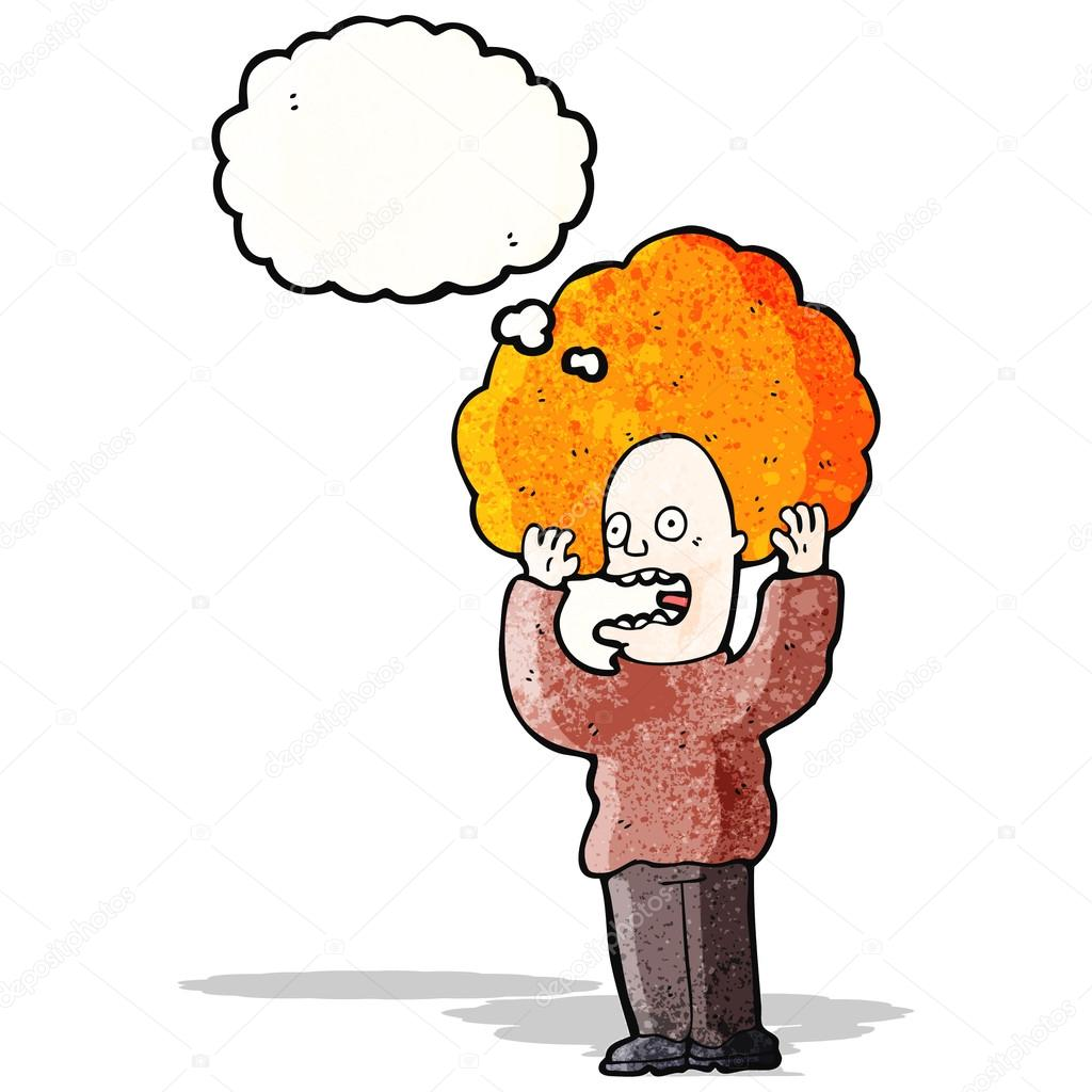 Ginger Desenho throughout cartoon man with huge ginger hair freaking out — stock vector