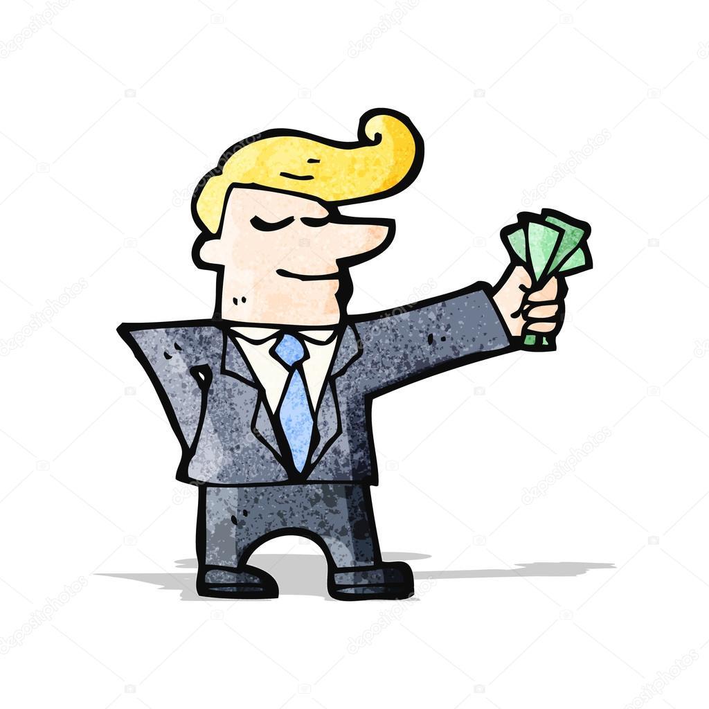 Uomo di cartone animato con contanti — vettoriali stock