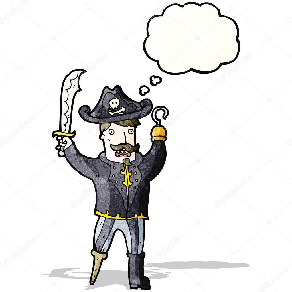 capitão pirata de desenhos animados com mão de gancho vetores de