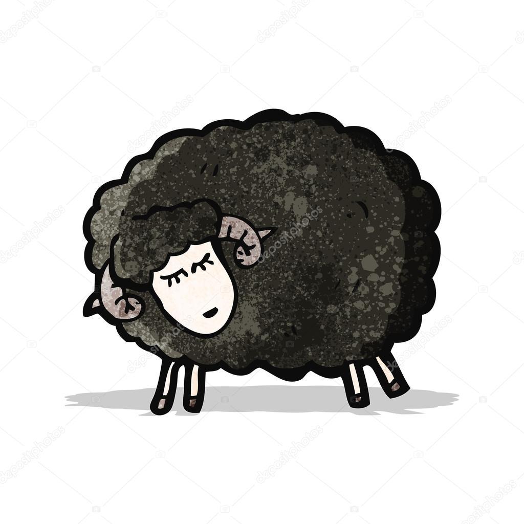 Pecora nera di cartone animato — vettoriali stock