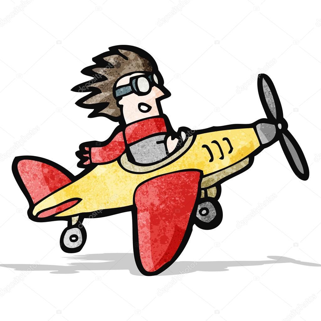 Pilota di cartone animato in aereo — vettoriali stock