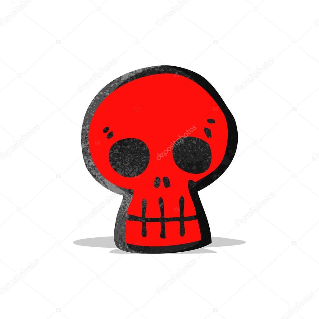 Simbolo dei cartoni animati di teschio rosso u vettoriali stock