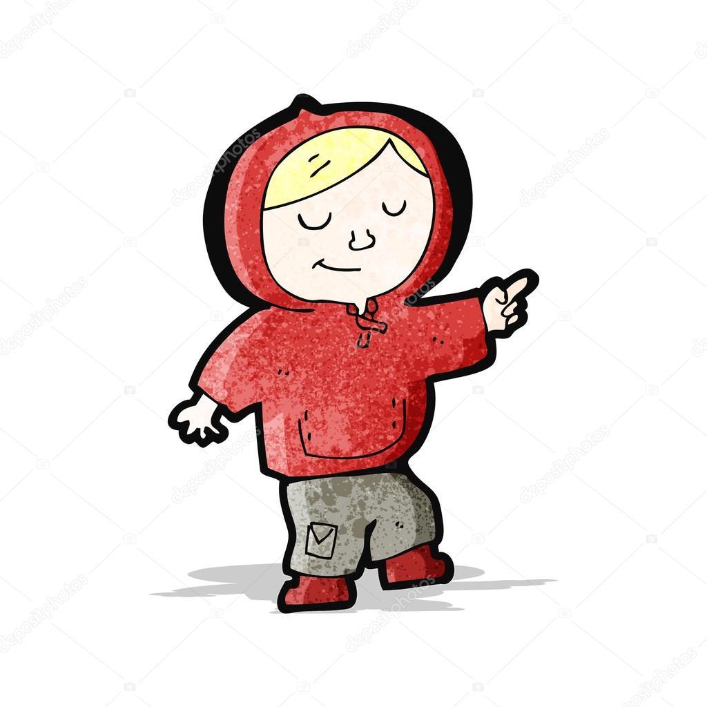 Ragazzo del cartone animato in felpa con cappuccio