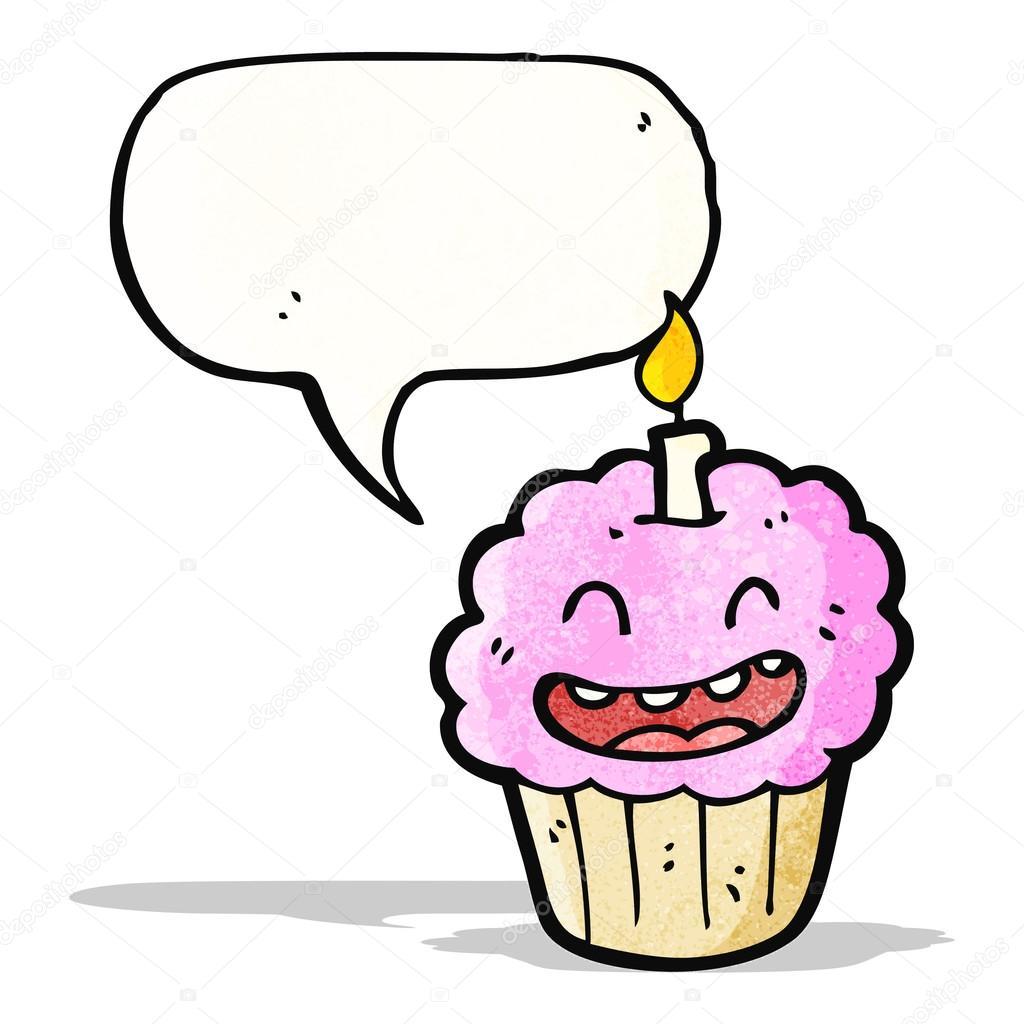 Dibujos animados de cupcake con vela — Vector de stock ...