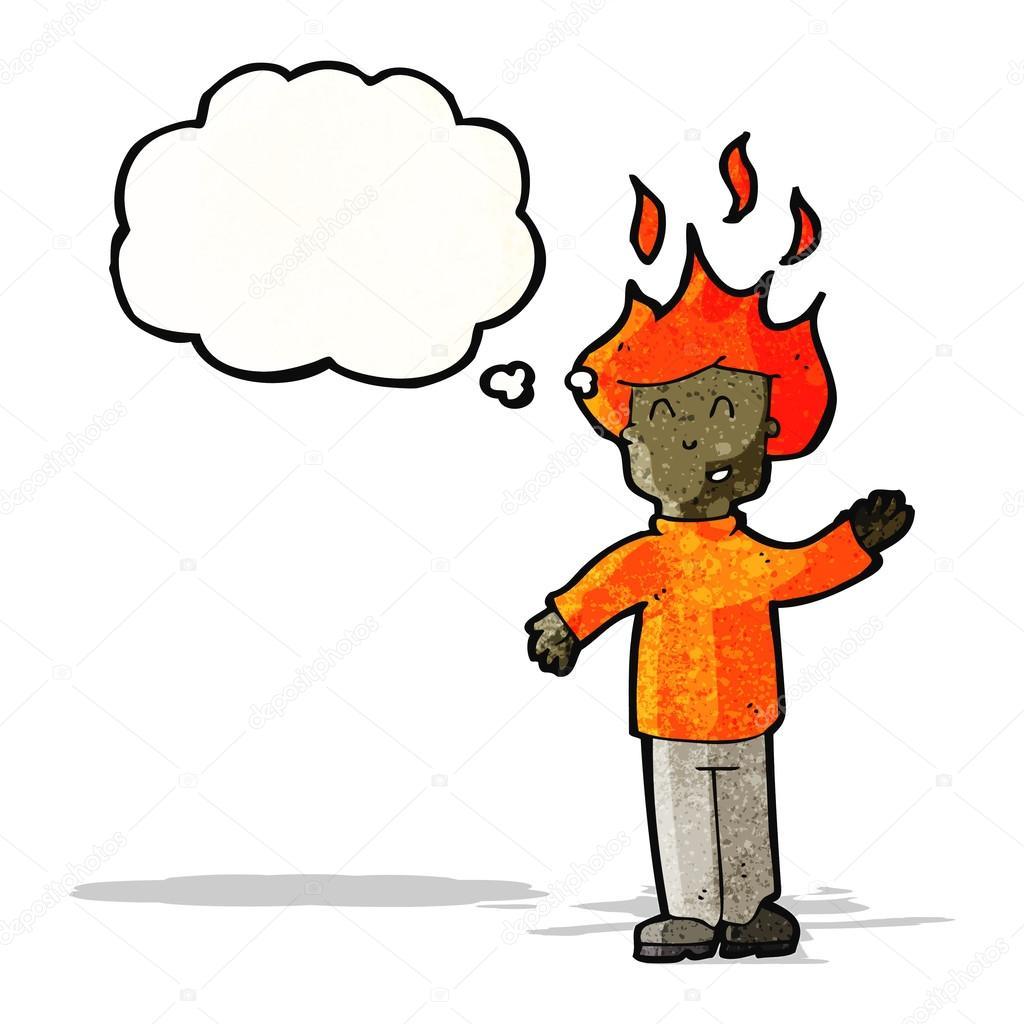 Uomo di cartone animato con la testa in fiamme