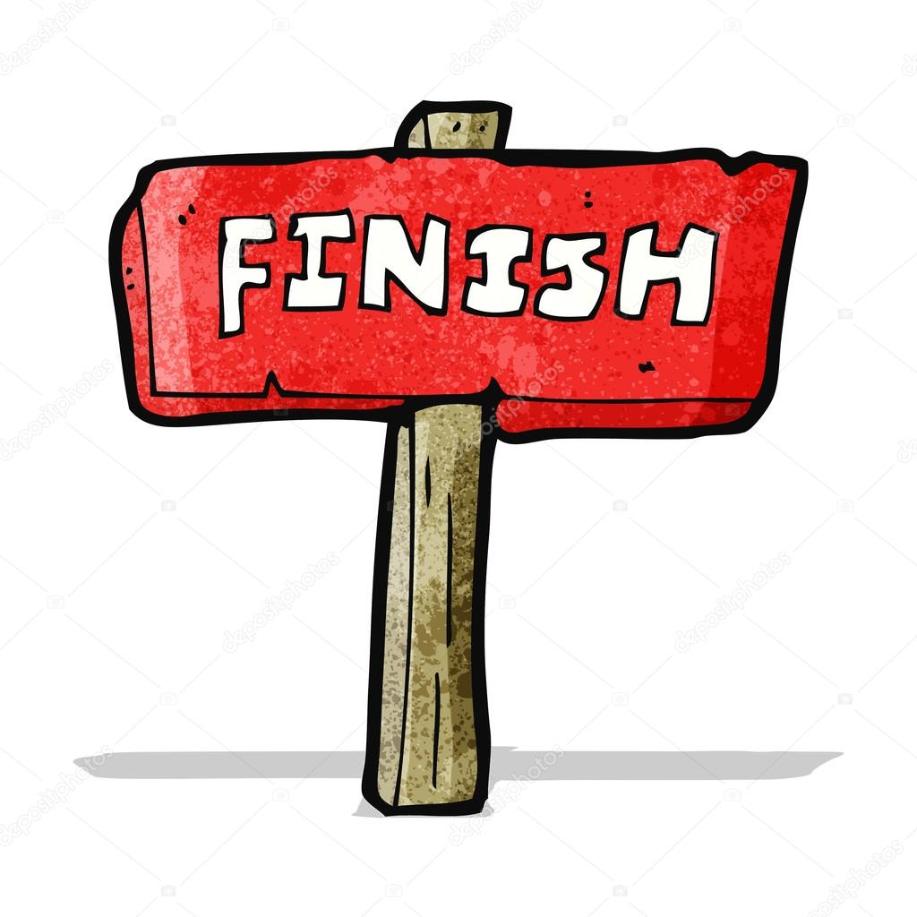 Dessin Anim Finir Signe Image Vectorielle 59652429