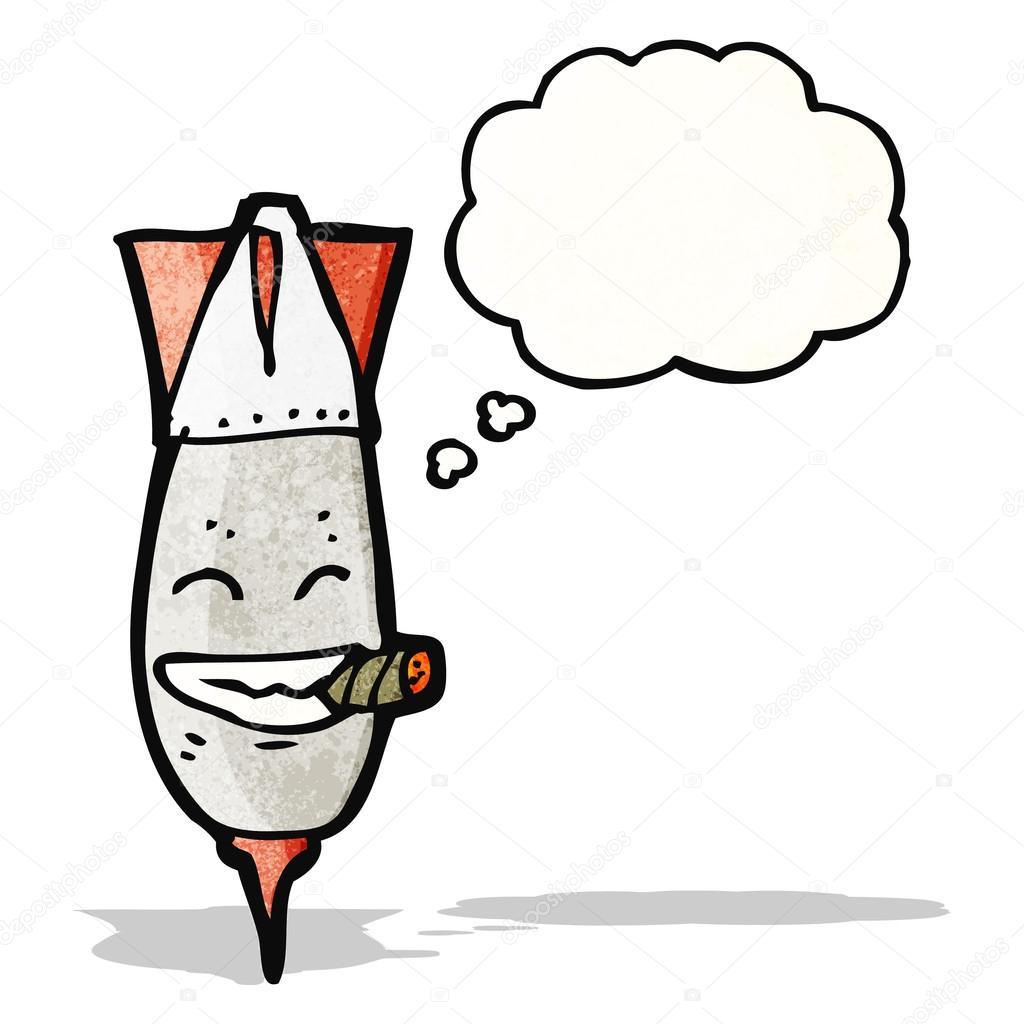 Bomba di cartone animato con sigaro — vettoriali stock