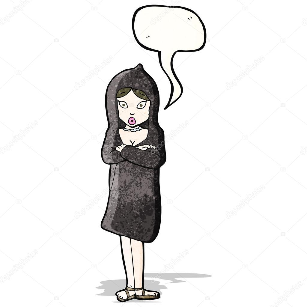 mujer de dibujos animados en la capa de — Vector de stock ... 4f5c1584e6b