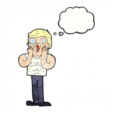 cartoon shocked gym man with thought bubble