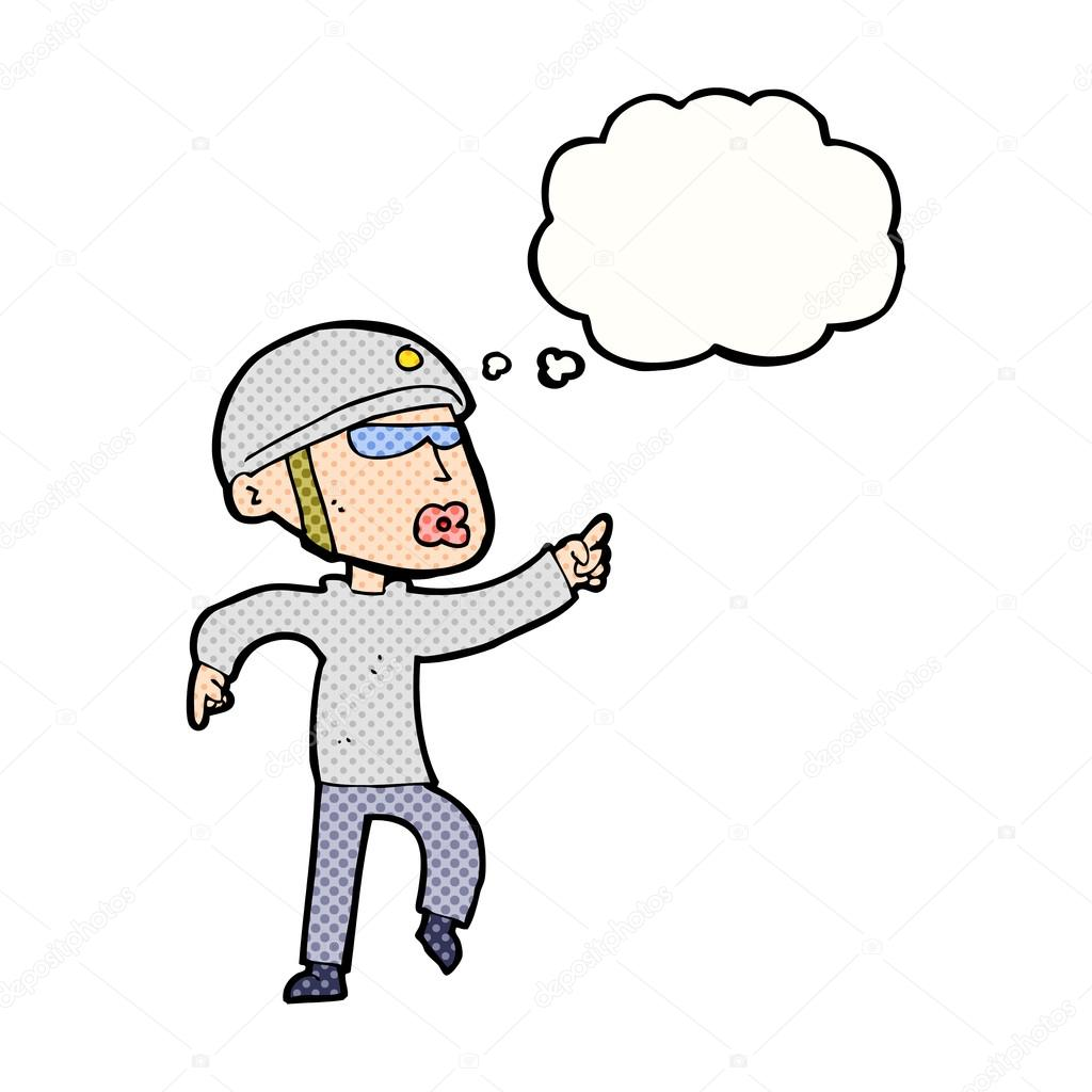 Cartoon Man In Bike Helmet Pointing With Thought Bubble Stock