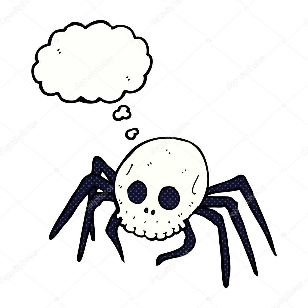 desenhos animados assustador halloween caveira da aranha com balão