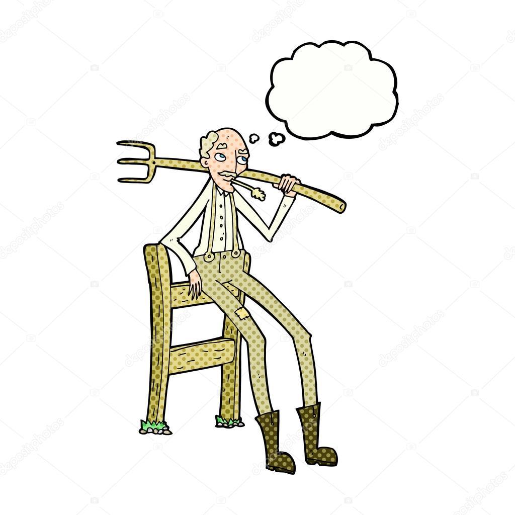 cartoon old farmer leaning on fence with thought bubble stock rh depositphotos com Bird Vector Bird Vector