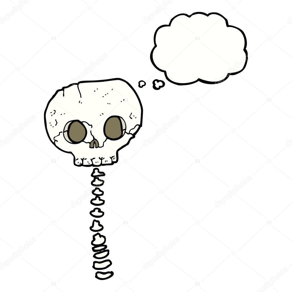 Cartoon-Spuk-Schädel und Wirbelsäule mit Gedanken Blase ...