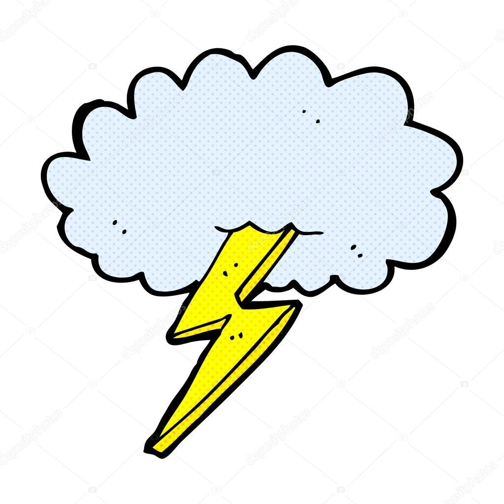 Comic Cartoon Lightning Bolt And Cloud Stock Vector
