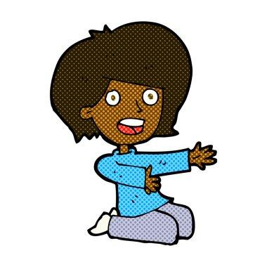 comic cartoon shocked woman on knees