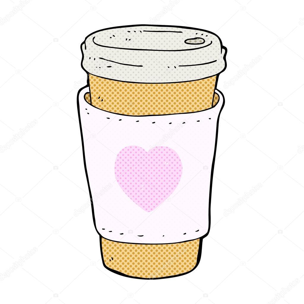 Comic dibujos animados te amo taza de café — Archivo Imágenes ...