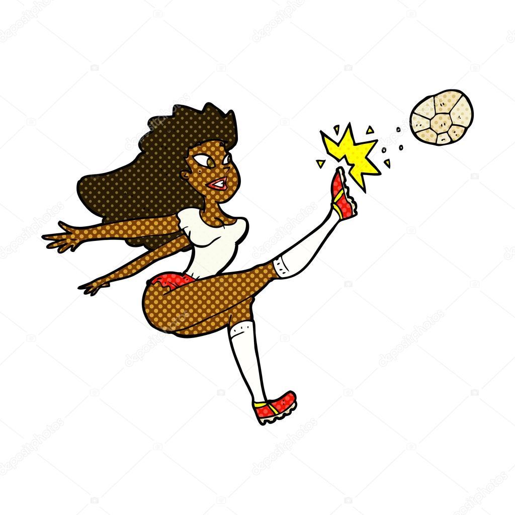 Comic Cartoon Fussballerin Kickt Ball Stockvektor