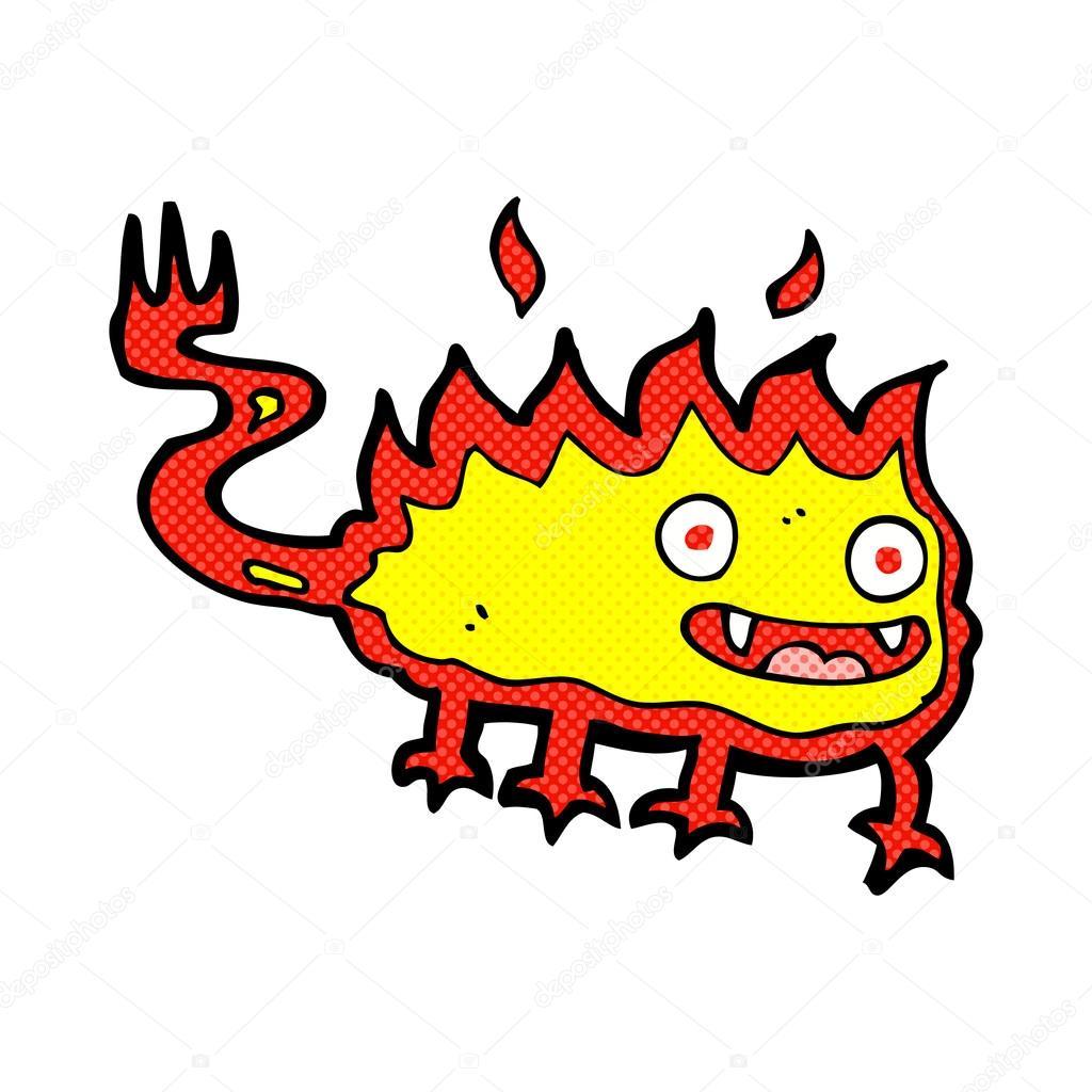 Fumetto Fumetto Fuoco Poco Demone Vettoriali Stock