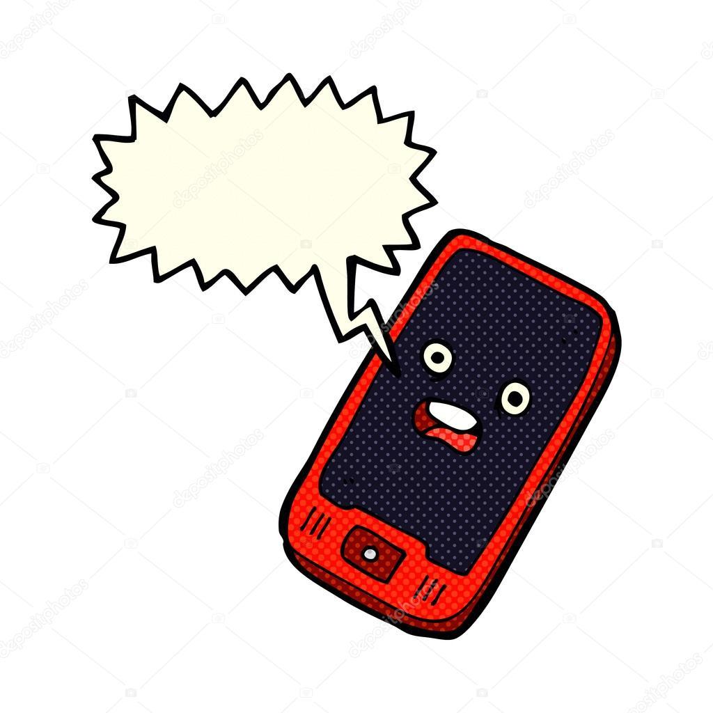 t l phone portable dessin anim avec bulle de dialogue image vectorielle lineartestpilot. Black Bedroom Furniture Sets. Home Design Ideas