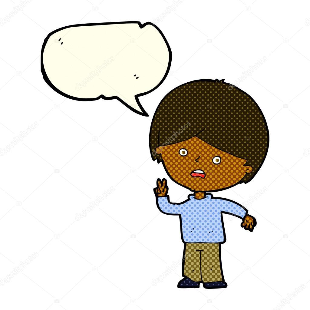 Dibujos Animados Infeliz Chico Dando Señal De Paz Con El Habla Burbuja Vector De Stock Lineartestpilot 75438985