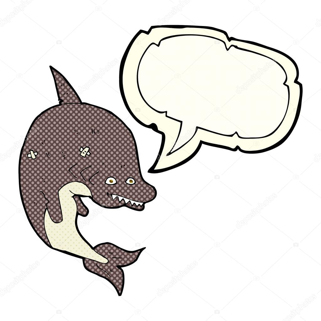 Tubarão De Desenhos Animados Com Bolha Do Discurso