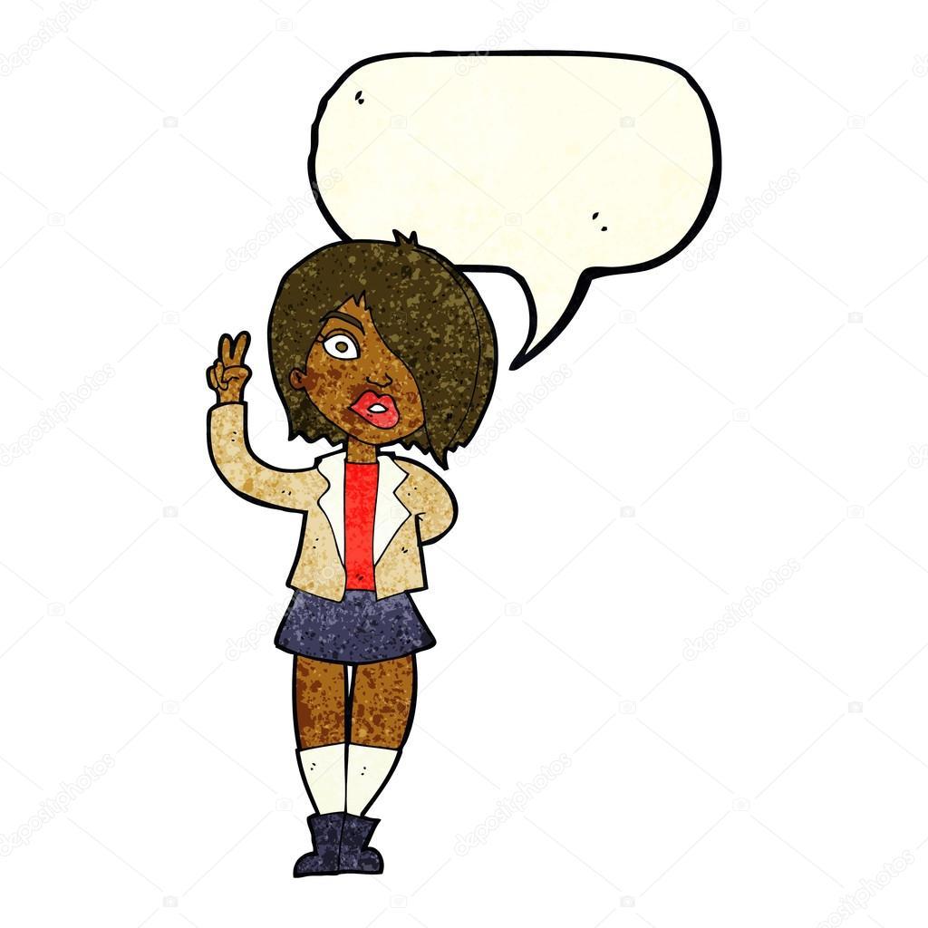 Dibujos Animados Chica Cool Dando Señal De Paz Con La Burbuja Del Habla Vector De Stock Lineartestpilot 75745703
