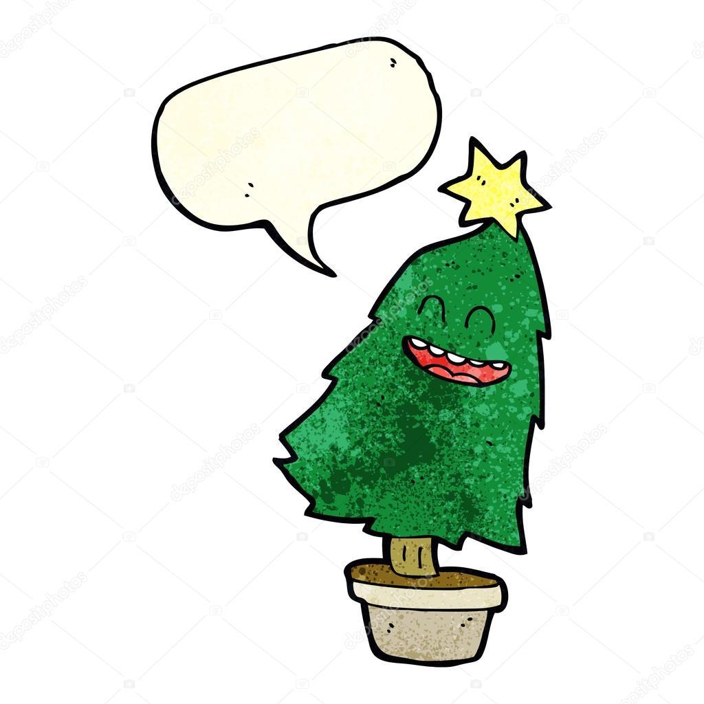 cartoon dancing christmas tree with speech bubble stock vector