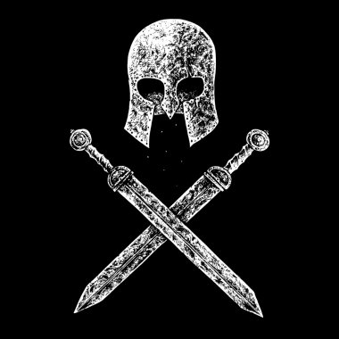 gladiator helmet and swords
